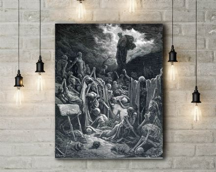 Gustave Dore: The Vision of the Valley of Dry Bones. Fine Art Canvas.